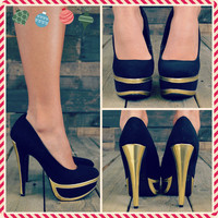 Beale Street Black Metallic Trim Pump Heels