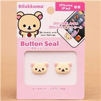 3D Rilakkuma white bear iPhone iPad button sticker - Cellphone Accessories - Accessories