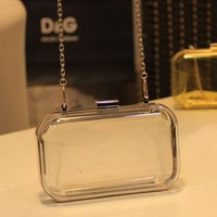 Perspex Clutch Handbag Transparent Acrylic Clear Purse Evening Bag/multi-color (Transparent)