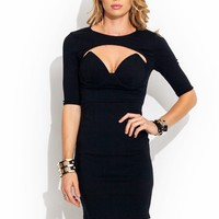 Cut-Out-Bodycon-Bustier-Dress BLACKBLACK WHITEBLACK - GoJane.com