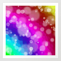 Rainbow Bokeh Pattern Art Print by Hippy Gift Shop