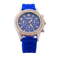 Blue Silicone Strap Crystal Watch  CHRISTMAS