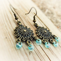 Indian aqua blue drop chandelier earrings Beaded dangle earrings Ethnic jewelry.