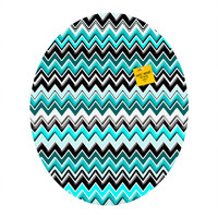 Madart Inc. Turquoise Black White Chevron Oval Magnet Board