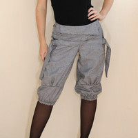 Warm Pants Cargo shorts Black White Houndstooth Capri Pants