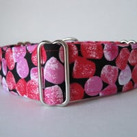 Red Martingale Collar, 2 Inch Martingale Collar, Valentines Martingale Collar, Hot Pink Dog Collar, Gumdrops Dog Collar, Greyhound Collar