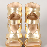 Bamboo Royce-09 Metallic Strappy Caged Open Toe Wedge