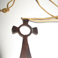 Vintate hand carved large wood cross necklace