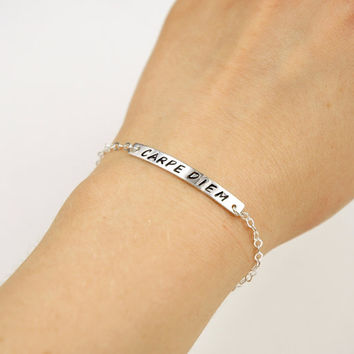 Hand Stamped Custom Words Bracelet - Sterling Silver ID Bar bracelet - Customizable Name Bracelet - Personalized Gift Ideas