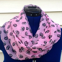Infinity scarf - cat print - candy pink - boho - kawaii - loop scarf - women - teen