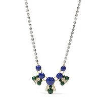 Color Cabochon Necklace- Blue and Green