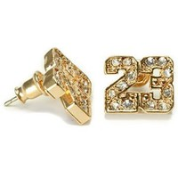 Gold Plated CZ Michael Jordan Number 23 NBA Stud Earrings