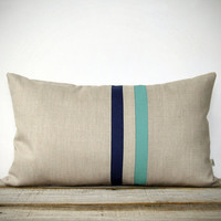 Mint and Navy Striped Pillow - 12x20 - Modern Home Decor by JillianReneDecor | Colorblock Stripes | Turquoise