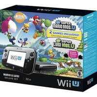 Nintendo - Nintendo Wii U Console Deluxe Set with New Super Mario Bros. U and New Super Luigi U