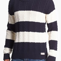 Scotch & Soda Cable Knit Stripe Crewneck Sweater | Nordstrom