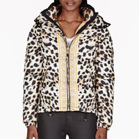 BROWN & GOLD DOWN LEOPARD PRINT JACKET