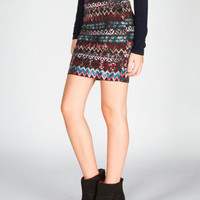 FULL TILT Tribal Print Ponte Bodycon Skirt