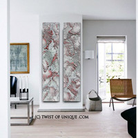 OverSized Abstract Painting, 2 huge panels, CUSTOM Metal Wall Art, Huge Paintings, Corporate - Steel, Silver, Metallic, Gray, Pink, Green