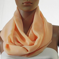 Solid Peach Infinity Scarf - Circle Loop Scarves - Long Shawl Scarf Soft Cozy Fashion Scarf - Gift Handmade Accessories for Women
