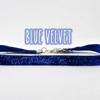 Dainty 90s Glitter Ribbon Velvet Blue Choker Necklace
