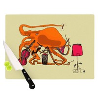 Kess InHouse Marianna Tankelevich Playful Octopus Cutting Board, 11.5 by 8.25-Inch