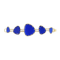 Cats Eye Triangle-Station Bracelet, Cobalt