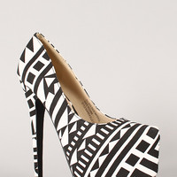 Bumper Elle-53 Tribal Print Pointy Toe Stiletto Pump