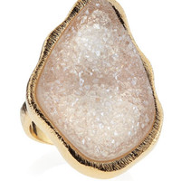 Freeform Pink Druzy Ring, Size 8