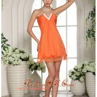 Orange V-neck Mini-length Club Dama Dresses For Quinceanera HXQ286,Clearance dresses