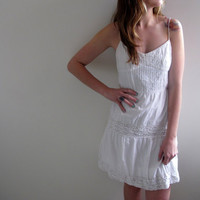 Vintage White Dress Eyelet Sundress Summer Prairie Mini Peasant Womens Babydoll Knee Length Shabby Chic Floral Print