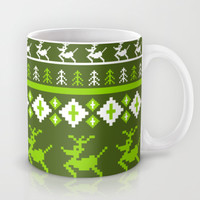 Retro Reindeer Christmas Stripe Mug by markmurphycreative