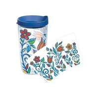 Tervis Tumbler Molly Z Blue Flower Wrap 16oz with Travel Lid