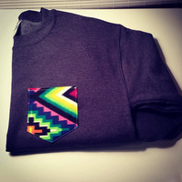 Custom crew cut sweatshirt with bright tribal pocket