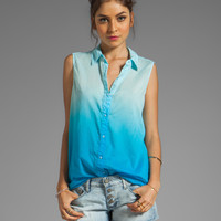 Michael Stars Dip Dye Voile Aruba Sleeveless Collared Button Down in Atlantic