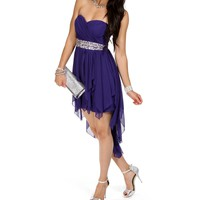 SALE-Purple Strapless Short Dress