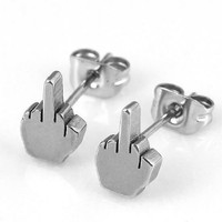 XIUFEN Silvery Stainless Steel Classic Middle Finger Cool Earrings Ear Stud Punk
