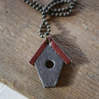 Birdhouse necklace in gray and burgundy leather. Bird lovers accessories.
