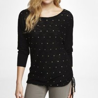 STUDDED SIDE RUCHED TUNIC SWEATER
