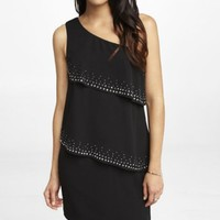 ONE SHOULDER RHINESTUDDED TIERED DRESS