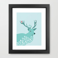 Blue Deer Framed Art Print by Ornaart