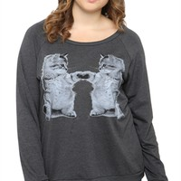 Plus Size Long Sleeve Raglan Top with Mirrored Cat Screen
