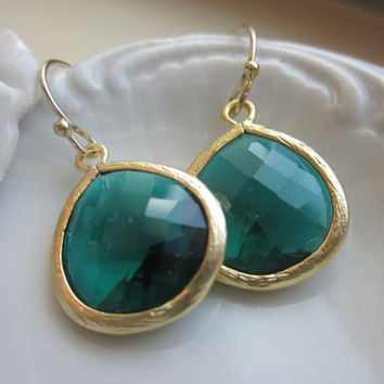 Emerald Green Earrings Gold Plated Large Pendant - Wedding Earrings - Bridal Earrings - Bridesmaid Earrings