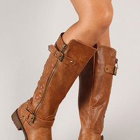 Vivienne-01 Quilted Leatherette Knee High Boot