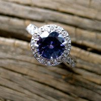 Handmade Mauve Purple Sapphire Engagement Ring in 14K White Gold with Scrolls and Diamonds Size 4.75/3mm