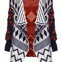 ROMWE | Retro Geometric Asymmetric Cardigan, The Latest Street Fashion