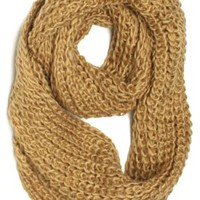 ForeverScarf Thick Knitted Solid Infinity Loop Scarf, Tan