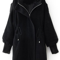 ROMWE | Romwe Hooded Self-tied Elastic Buttoned Black Coat, The Latest Street Fashion