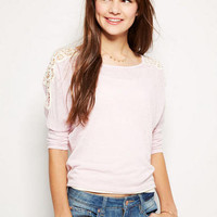 Crochet Inset Circle Long-Sleeve