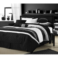 Cheetah Black/ White Oversized 8-piece Comforter Set