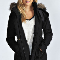 Leah Wool Mix Parka with Faux Fur Hood